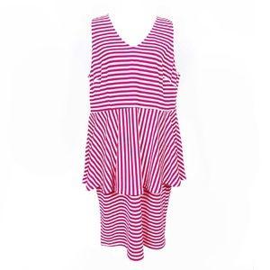 Eloquii pink and white peplum dress size 20 NWT